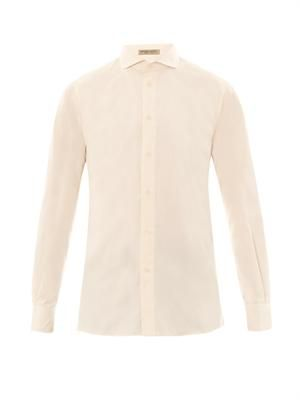 Spread collar cotton shirt