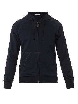 Navy zip-front hooded sweatshirt