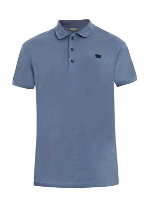 Cotton-pique polo top