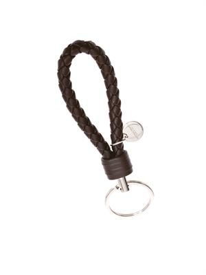 Intrecciato woven leather key fob