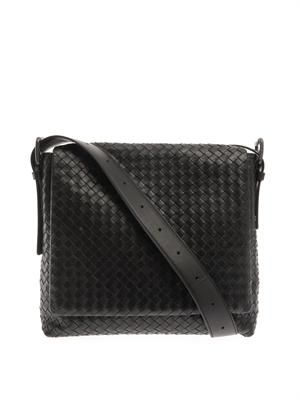 Intrecciato leather messenger