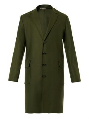 Single-breasted wool cashmere-blend coat