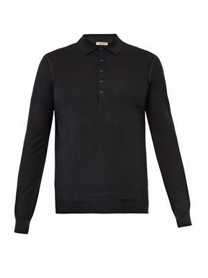 Fine-knit polo shirt