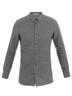 Washed flannel houndstooth shirt