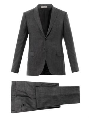 Scratched single-breasted wool suit