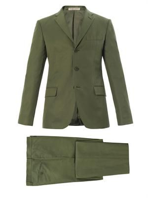 Three-button cotton-blend suit