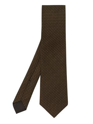 Square-dot silk tie