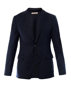 Leather-trimmed wool jacket
