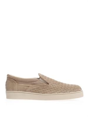 Intrecciato woven suede slip-on trainers