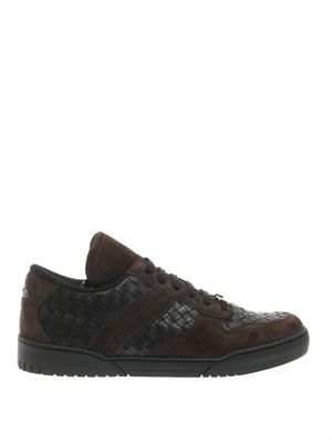 Suede and leather intrecciato trainers