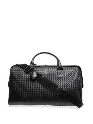 Intrecciato-woven leather travel bag