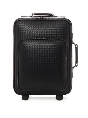 Intrecciato leather trolley suitcase