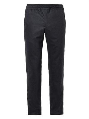 Wool-flannel track pants