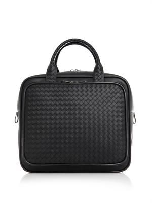 Intrecciato leather carry-on bag