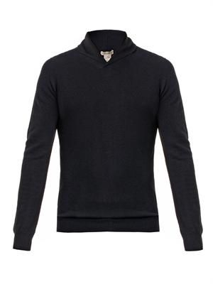Shawl-neck cashmere sweater
