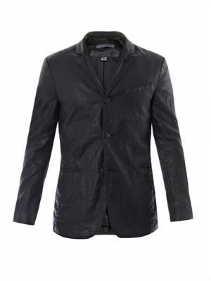 Coated linen notch lapel jacket