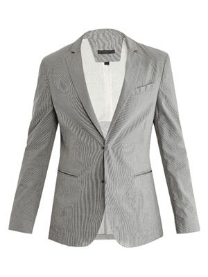 Pencil-stripe cotton jacket