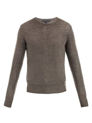 Mesh crew-neck sweater