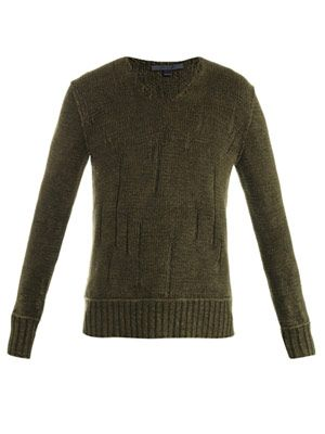 Needle front linen sweater