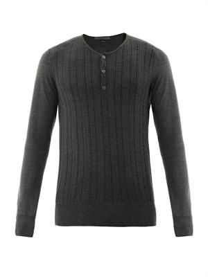 Silk-blend Henley sweater