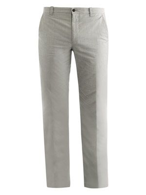Pencil-stripe cotton trousers