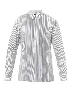 Organza-placket pinstripe shirt