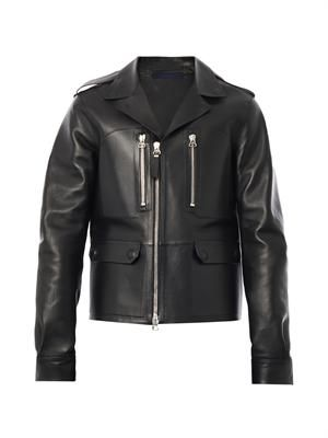 Bonded leather biker jacket