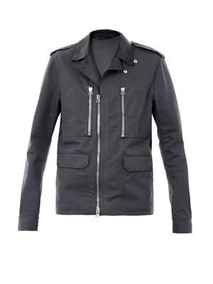 Leather-lapel biker jacket