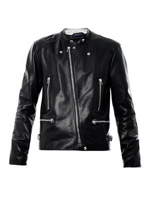 Leather multi-zip jacket