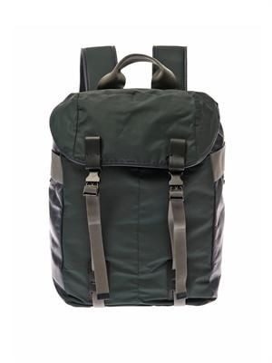 Bi-colour nylon and leather backpack