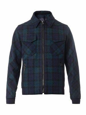 Tartan-print wool jacket