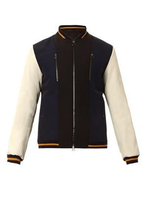 Tri-colour technical-crepe bomber jacket