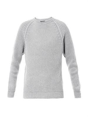 Jumbo-stitch cotton sweater