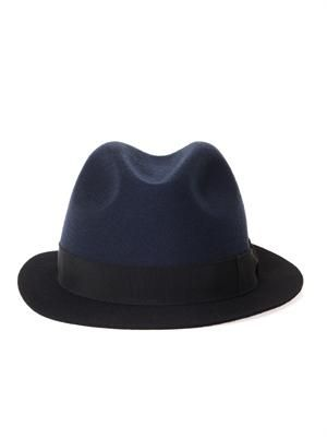 Bi-colour wool trilby