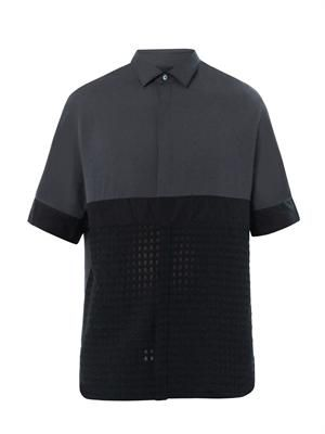 Contrast-panel crepe shirt