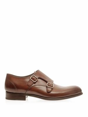 Double monk-strap leather shoes