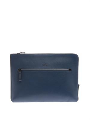 Grained leather portfolio pouch