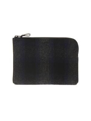 Tartan wool and leather pouch