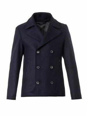 Double-faced wool-blend pea coat