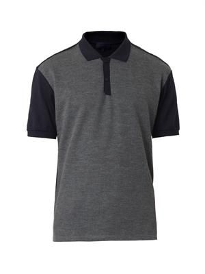 Cotton-piqué and wool polo shirt