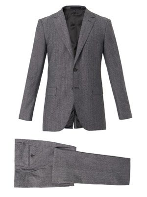 Attitude-fit wool and cotton-blend suit