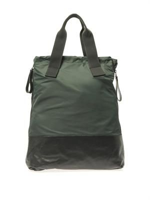 Nylon and calf-leather shopper bag