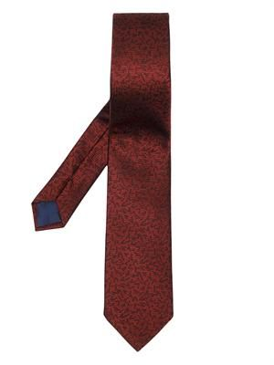 All over letter-print classic silk tie