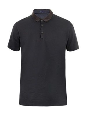 Grosgrain collar polo top