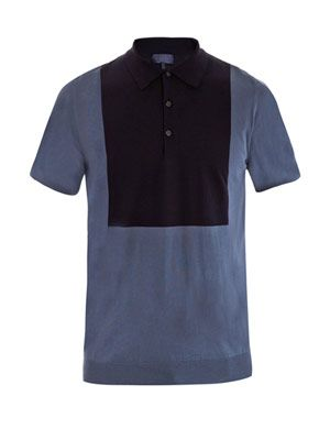 Contrast bib knit polo top