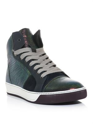 Irredescent high-top trainers