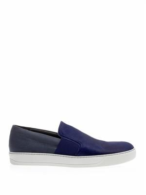 Calf-hair and canvas slip-on trainers