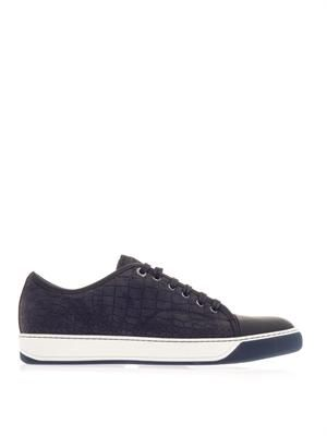 Embossed leather and rubber trainers