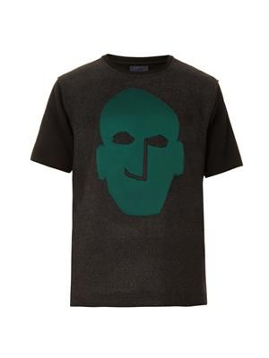 Face-motif wool and jersey T-shirt