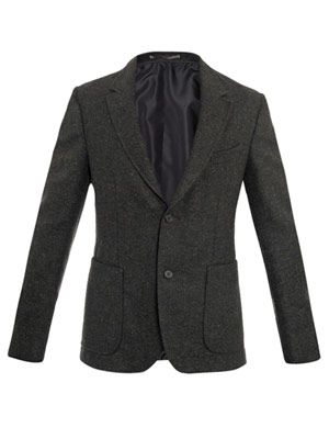 Boiled wool single breasted jacket